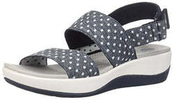 CLARKS Women's Arla Jacory Sandal, Navy White Dot Elastic, 80 W US