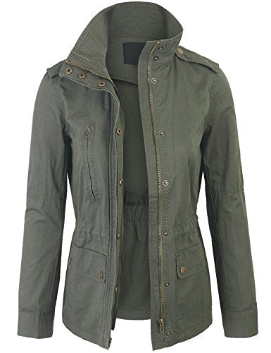 KOGMO Womens Military Anorak Safari Jacket with Elastic Waist Band-L-Olive