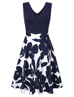 GloryStar Women Vintage Casual Sleeveless V-Neck Floral Slim Fit and Flare Swing Dress (XL, Navy)