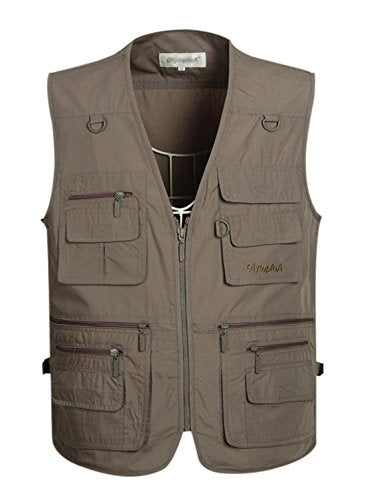 Gihuo Men's Summer Cotton Leisure Outdoor Pockets Fish Photo Journalist Vest Plus Size (M, Grey)