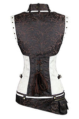 Charmian Women's Plus Size Spiral Steel Boned Renaissance Vintage Steampunk Bustier Corset Top with Jacket and Belt Brown-White XX-Large