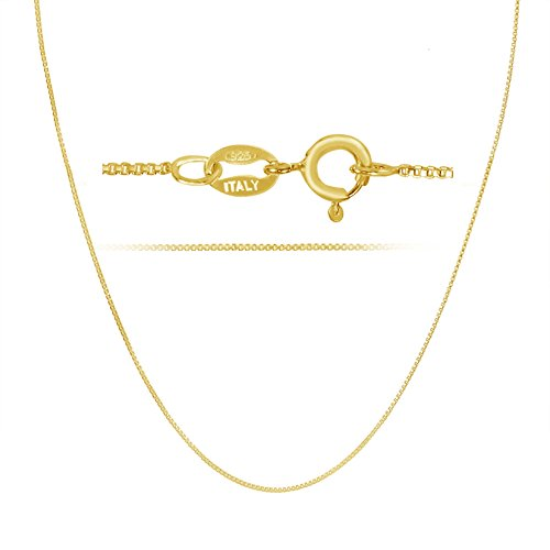 18k Gold over Sterling Silver 1mm Box Chain Necklace Made in Italy 18 Inch