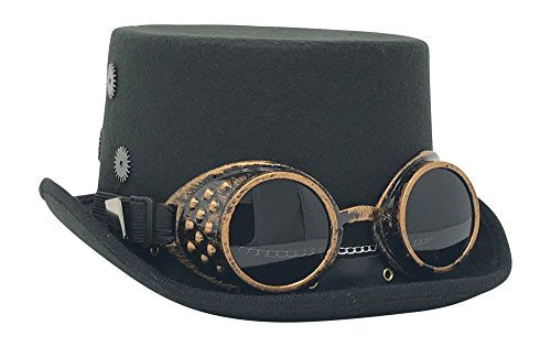 Kopper Tops Steampunk Costume Vintage Copper Goggles & Gears Top Hat Victorian Gothic accessories