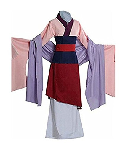 Peachi Kids Teen Heroine Hua Mulan Dress Halloween Costume Cosplay Party S-XL (XL)