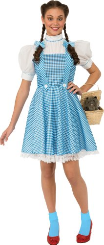 Rubie's Wizard Of Oz Adult Dorothy Dress and Hair Bows, Blue/White, Large