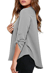 FACE N FACE Women's Summer V Neck Solid Loose Casual Cuffed Long Sleeve Blouses Large Grey