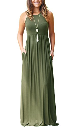 GRECERELLE Women's Sleeveless Long Maxi Dresses Plus Size with Side Pocket Army Green-L