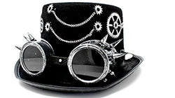 Steampunk Top Hat with Removable Steampunk Goggles and Gears Velvet 6.2