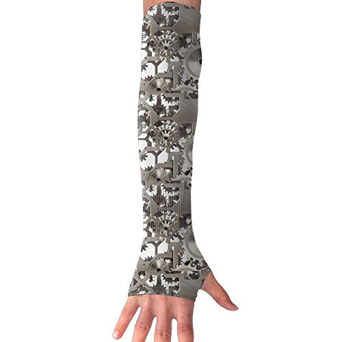 Arm Sleeve Fingerless Gloves Unisex Steampunk Gear Sports Outdoor Sun Block Driving Gloves Stretchy Arm Warmer