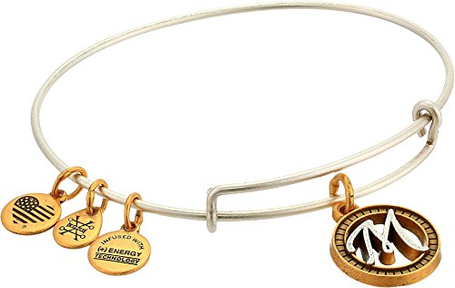Alex and Ani Women's Initial M Charm Bangle Two-Tone One Size