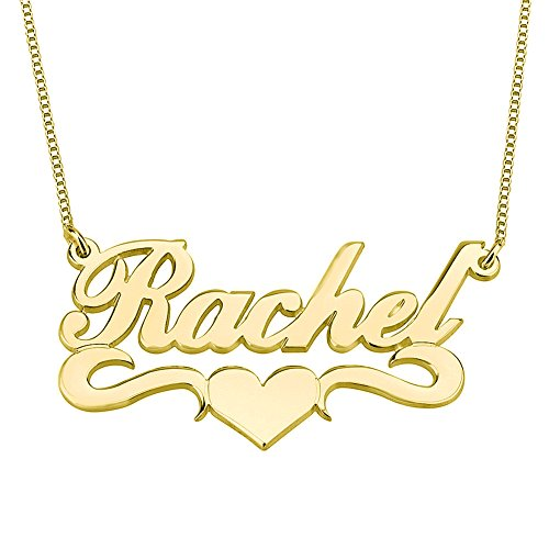 HACOOL Personalized Name Necklace Pendants in 18K Gold Plated Custom Made with Any Name 18