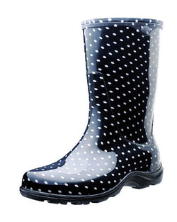 Sloggers Women's Waterproof Rain and Garden Boot with Comfort Insole, Black/White Polka Dot, Size 9, Style 5013BP09