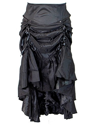 Chic Star Plus Size Black Gothic Steampunk Burlesque 3 Way Lace Up Skirt (3X (Size 24))