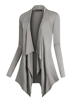 Urban CoCo Women's Drape Front Open Cardigan Long Sleeve Irregular Hem (2XL, Light Gray)