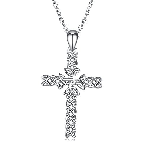 Sterling Silver Filigree Celtic Knot Cross Pendant Necklace 18
