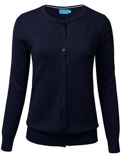 FLORIA Women Button Down Crew Neck Long Sleeve Soft Knit Cardigan Sweater Navy L
