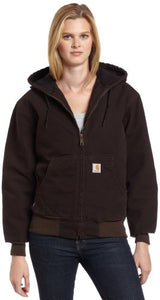 Carhartt Women's Quilted Flannel Lined Sandstone Active Jacket WJ130,Dark Brown,X-Large