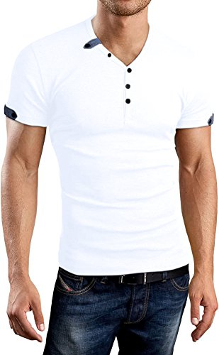 Aiyino Mens Summer Casual V-neck Button Cuffs Cardigan Short Sleeve T-Shirts, White,  US XL