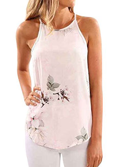 WLLW Women Crew Neck Sleeveless Floral Print Shirt Tops Tee Tanks Camis (S, Light Pink)