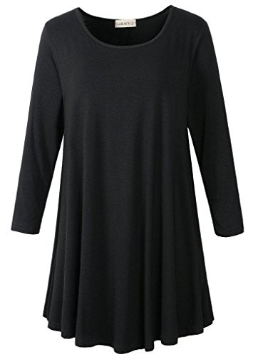LARACE Women 3/4 Sleeve Tunic Top Loose Fit Flare T-Shirt(L, Black)