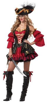 California Costumes Women's Eye Candy - Spanish Pirate Adult, Black/Red, Large