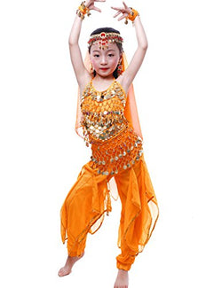 Astage Girls Oriental Belly Dance Sets Costumes All Accessories Orange S(Fits 3-5 Years)