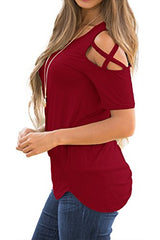 Adreamly Women's Casual Summer Short Sleeve Loose Strappy Cold Shoulder Tops Basic T Shirts Blouses Burgundy Medium