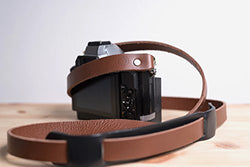 Vintage-Style Leather Camera Shoulder Strap for Canon Fujifilm Leica Nikon Olympus Sony & More by MakeMoves Photography - Unique Width - Perfect for Travel & Street (Brown 47in)