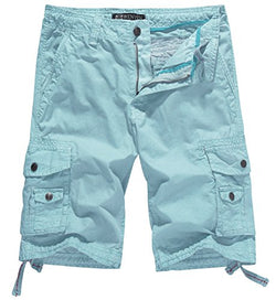 WenVen Men's Cotton Twill Cargo Short Outdoor Wear Lightweight(No.4 SkyBlue,34)