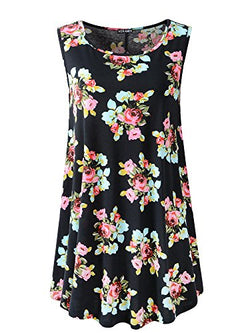 Veranee Women's Sleeveless Swing Tunic Summer Floral Flare Tank Top (XXL, 6-1)