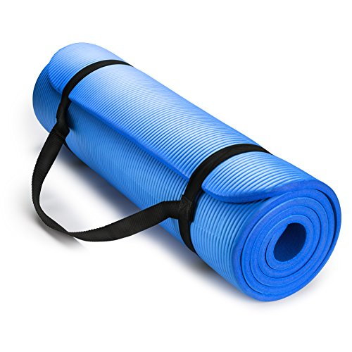 HemingWeigh 1/2-Inch Extra Thick High Density Exercise Yoga Mat with Carrying Strap (Blue)