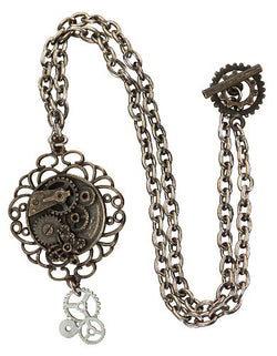 Elope Antique Butterfly Gear Steampunk Necklace