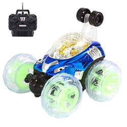 Amiley RC Rolling Stunt Car Invincible Tornado Remote Control Truck 360 Degree Spinning and Flips With Color Flash & Music For Kids Gift (Blue)