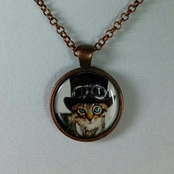 Steampunk Resin Art Pendant Orange Cat with Black Top Hat Adjustable Size Necklace