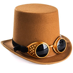 Tigerdoe Costume Hats - Top Hat w/Bow Tie - Costume Accessory Set - Brown Hat w/Neck Tie (Steampunk Hat With Goggles)