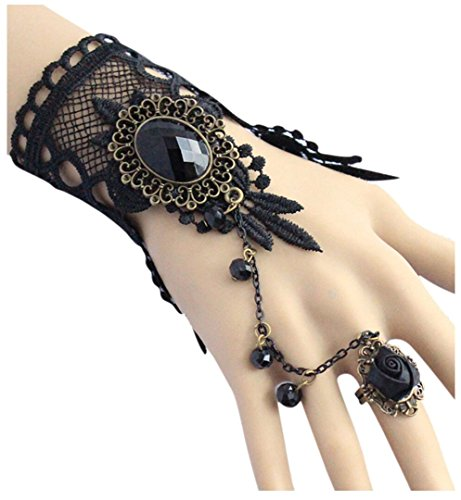 Aniwon Punk Wedding Party Black Lace Choker Beads Chain Pendant Bracelet for Women