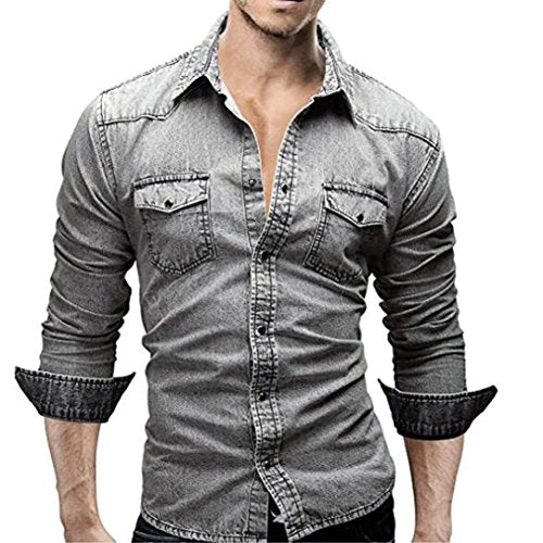 Men Shirts,Han Shi Fashion Summer Cotton Long Sleeve Cotton Business Button Tank Tops (L, Gray)