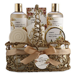Mother's Day Gifts - Home Spa Gift Basket - Honey & Almond Scent - Luxury Bath & Body Set For Women/Men-Contains Shower Gel, Bubble Bath, Lotion, Bath Salt, Bath Bomb, Puff & Handmade Weaved Basket