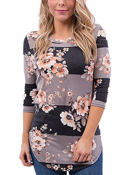 CEASIKERY Womens Blouse 3/4 Sleeve Floral Print T-Shirt Comfy Casual Tops For Women Brown (US 18-20) XX-Large