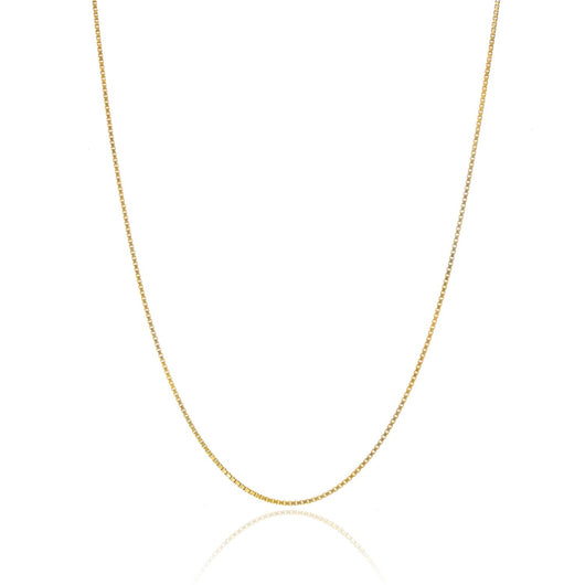 18K Gold over Sterling Silver .8mm Thin Italian Box Chain Necklace All Sizes 14