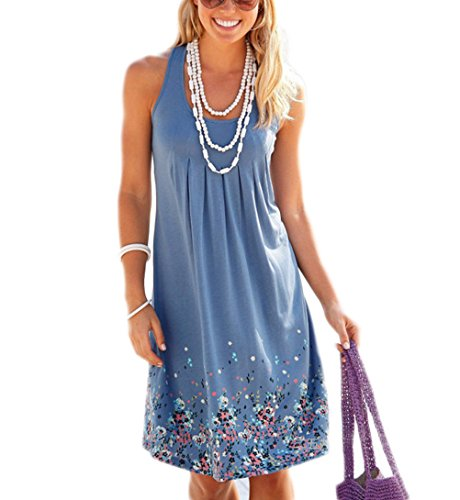 Akery Womens Summer Casual Sleeveless Mini Printed Vest Dresses,Blue,Medium