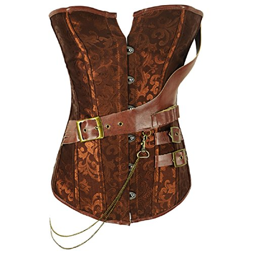 Cheapestbuy Women's Vintage Steampunk Corsets Bustiers Steel Boned Overbust Corset Lingerie For Party (6XL, Brown)