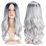 "Another Me Black Gray Wigs 27.5"" Long Curly Hair Wig 2 Tone Silver Grey Ombre Party Cosplay Wig"