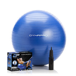DYNAPRO Exercise Ball - 2,000 lbs Stability Ball - Professional Grade – Anti Burst Exercise Equipment for Home, Balance, Gym, Core Strength, Yoga, Fitness, Desk Chairs (Blue, 45 Centimeters)