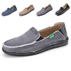 L-RUN Men's Summer Casual Breathable Cloth Shoes Outdoor Slip-On Loafers Grey 9.5 M US