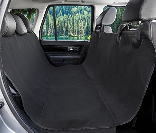 BarksBar Original Pet Seat Cover for Cars - Black, WaterProof & Hammock Convertible (Standard, Black)