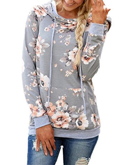 Famulily Women's Floral Printed Casual Long Sleeve Hoodie Pullover Sweatshirts(Grey,X-Large)