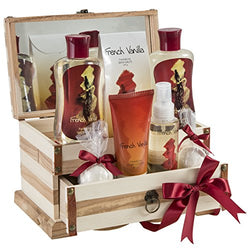 Bath and Body Gift Set Basket by Freida and Joe in French Vanilla Fragrance, with Bath Bomb, Body Lotion, Body Spray, Bath Salts, Shower Gel, and Bubble Bath, in a Luxury Wooden Jewelry Box for Women