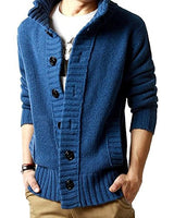 Men's Button Point Shawl Collar Knitted Slim Fit Cardigan Sweater (M, Blue)