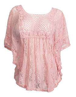 eVogues Plus Size Sheer Crochet Lace Poncho Top Pink - 2X